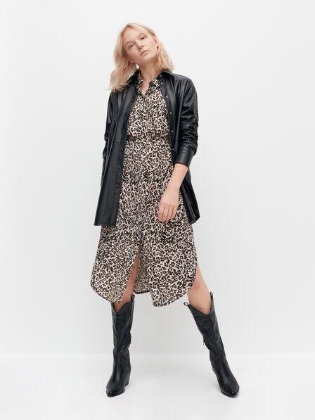 Reserved - Ladies' Shirt Dress With Animal Print - Multicolor