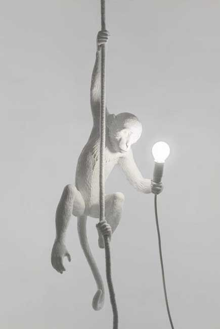 Seletti - Monkey Lamp Hanging With Rope White Indoor