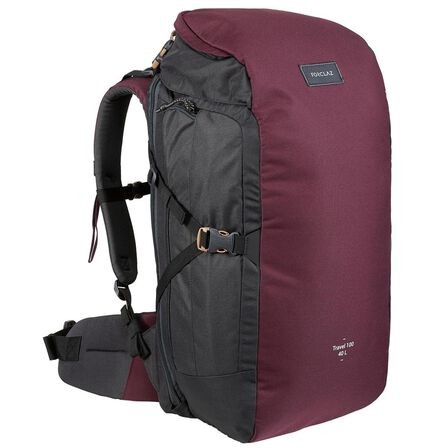 FORCLAZ - Unique Size  Trekking Travel Backpack 40 Litres | TRAVEL 100, Deep Chocolate Truffle