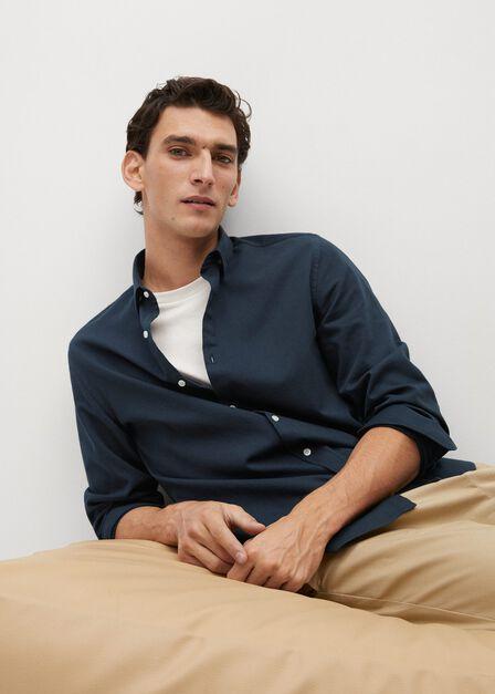 Mango - navy Slim fit structured cotton shirt