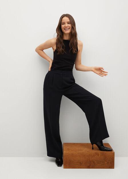 Mango - black Pleat detail trousers