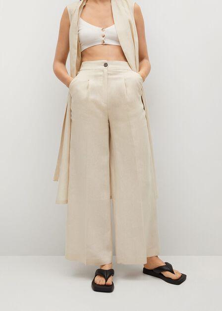 Mango - light beige 100% linen trousers