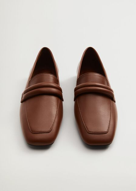 Mango - brown Leather penny loafers, Women