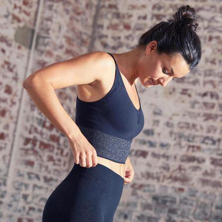 DOMYOS - Small  Seamless Long Dynamic Yoga Sports Bra, Black