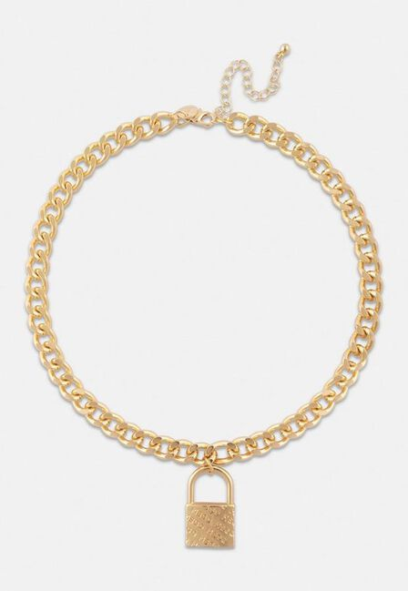 Missguided - Gold Gold Look Msgd Padlock Chain Necklace