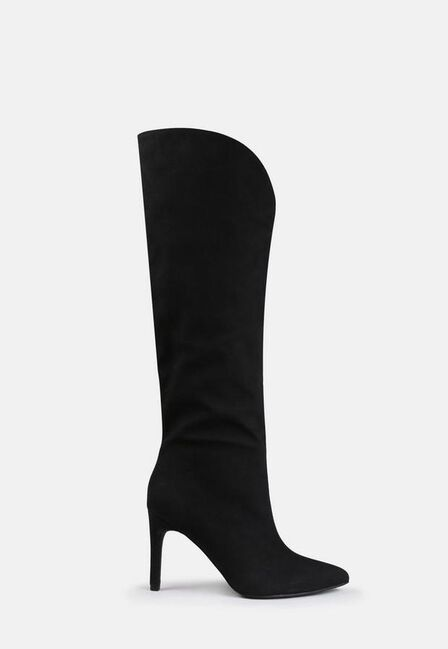 Missguided - Black Faux Suede Curve Top Mid Heel Boots