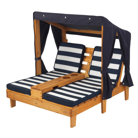 KIDKRAFT - Kidkraft Outdoor Double Chaise Lounge With Cup Holders Honey & Navy Blue