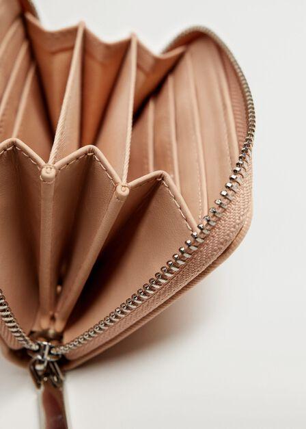 Mango - Pastel Pink Saffiano-Effect Wallet