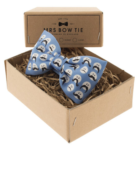 MRS.BOW TIE - Moustache Faces On Blue Bow Tie
