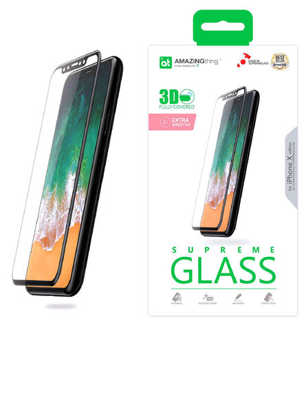 AMAZING THING - Amazing Thing 0.2mm Hybrid Fully Covered Supreme Glass Black for iPhone X