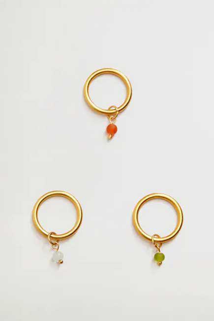 Mango - Gold Metal Ring Set, Women