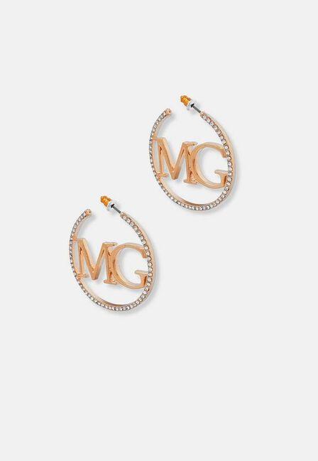 Missguided - Gold Look Mg Diamante Logo Hoop Earrings