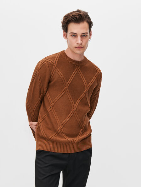 Reserved - Men's Cable Knit Jumper - Brown