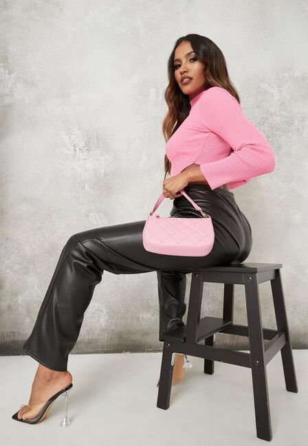 Missguided - Pink Diamond Quilted Faux Leather Shoulder Bag