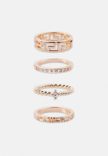 Missguided - Gold Look Geo Ring Multipack