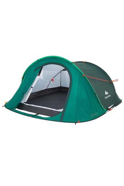 QUECHUA - 2 seconds camping tent  3 person green