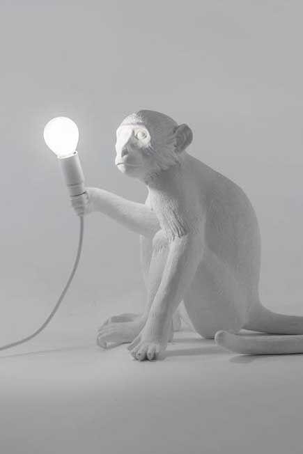 Seletti - Monkey Lamp Sitting White Indoor