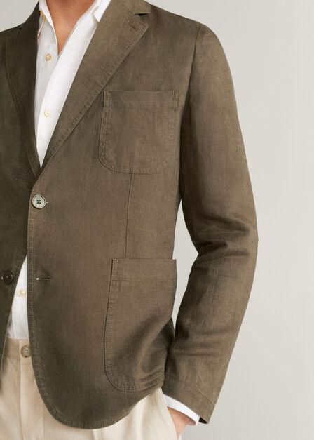 Mango - medium brown 100% linen slim fit blazer