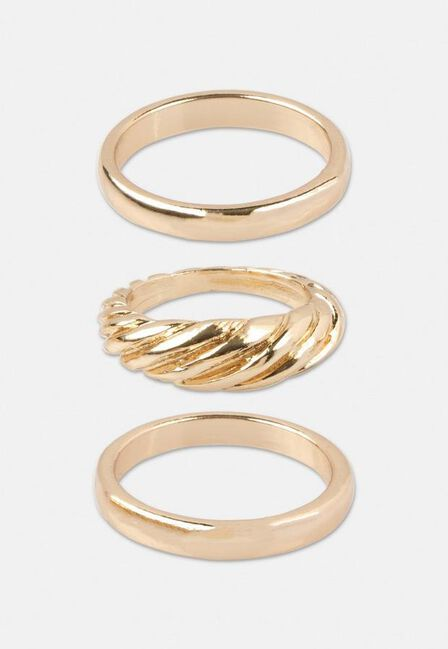 Missguided - Gold Gold Look Twist Ring In 3 Pack