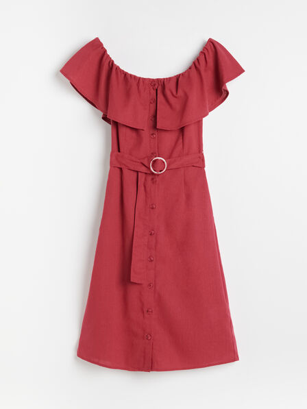 Reserved - Fuchsia Off Shoulder Dress With Belt, Women
