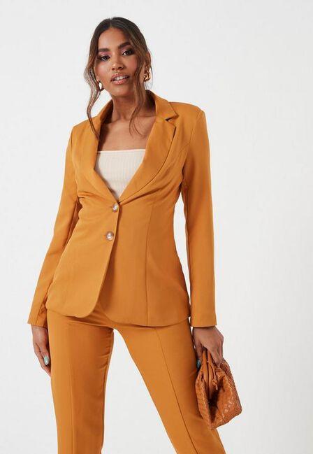 Missguided - Rust Orange Rust Button Front Blazer
