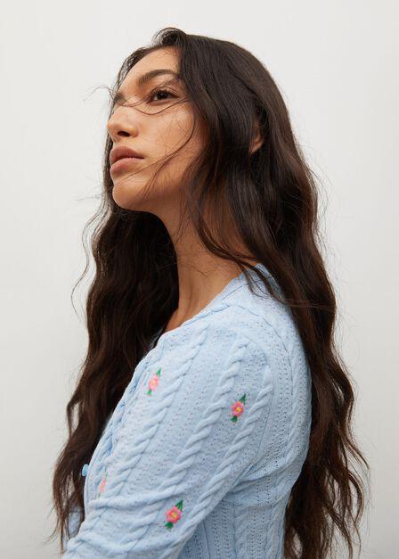 Mango - Lt-Pastel Blue Flowers Knit Cardigan, Women