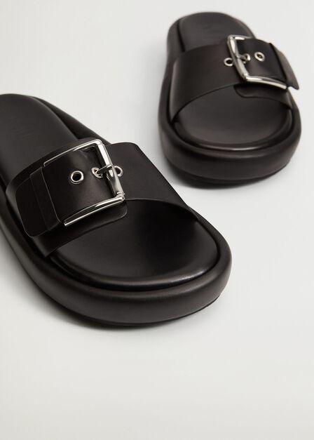 Mango - black Buckle leather sandals, Women