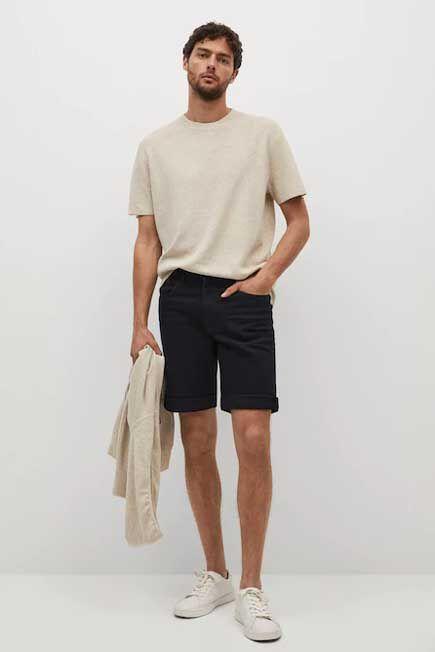 Mango - Open Grey Black Denim Bermuda Shorts, Men