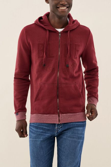 Salsa Jeans - Red Zip-Up Knitted Coat With Hood