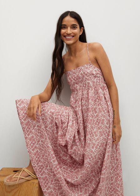 Mango - natural white Maxi dress with back slit, Women