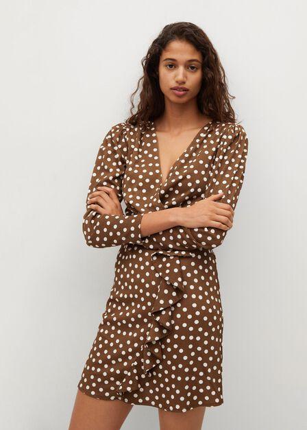 Mango - brown Textured ruffled dress
