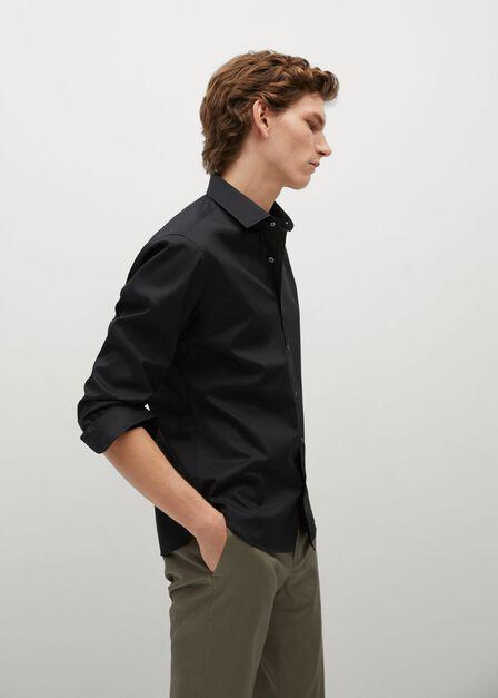 Mango - Black Slim Fit Cotton Shirt