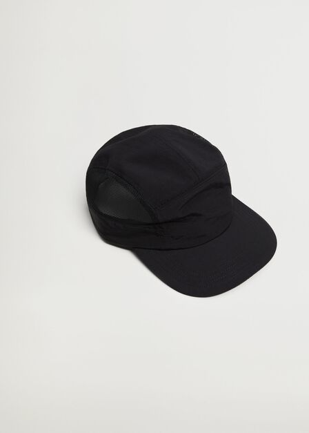 Mango - Black Mesh fabric cap