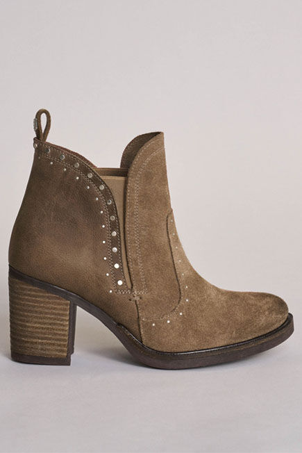 Salsa Jeans - Beige Leather boots with high heel and studs
