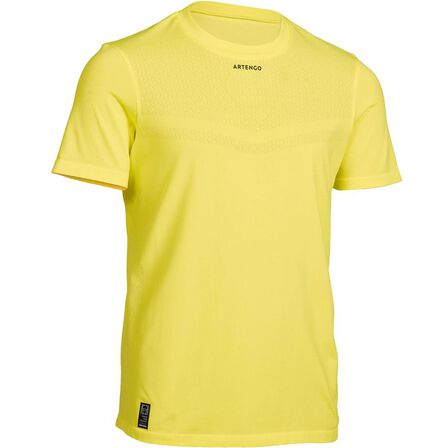 ARTENGO - 12-13 Years  900 Boys' T-Shirt, Fluo Lime Yellow