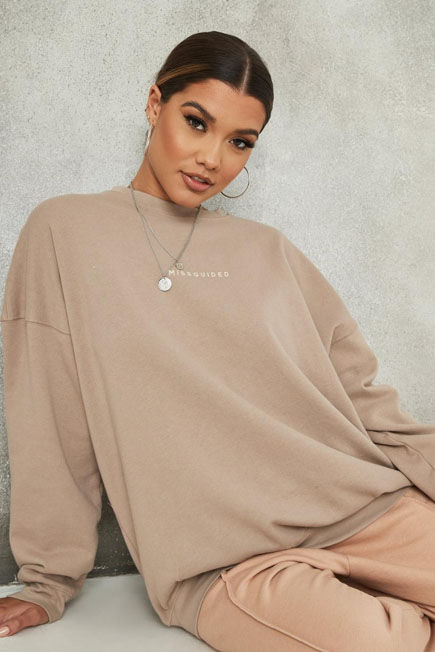 Missguided - Camel Sand Missguided Slogan Washed Sweatshirt