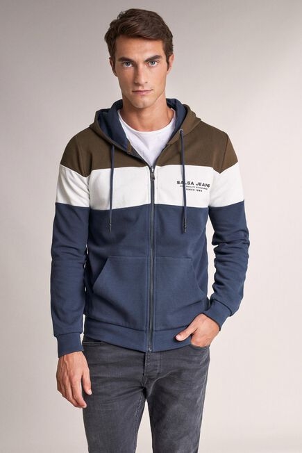 Salsa Jeans - Blue Reversible jacket with zip and colour strip