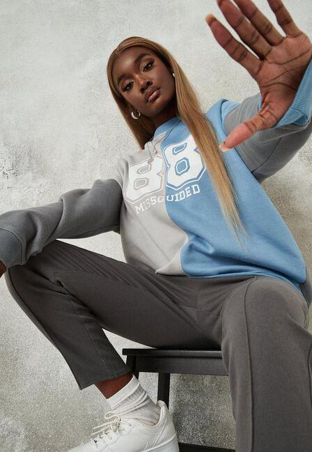 Missguided - Blue Missguided Colourblock Brushed Back Extreme Oversized Sweatshirt