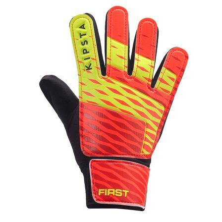 KIPSTA - 4  First Kids' Football Goalkeeper Gloves, Fluo Blood Orange