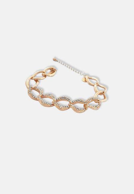 Missguided - Gold Look Diamante Chain Bracelet