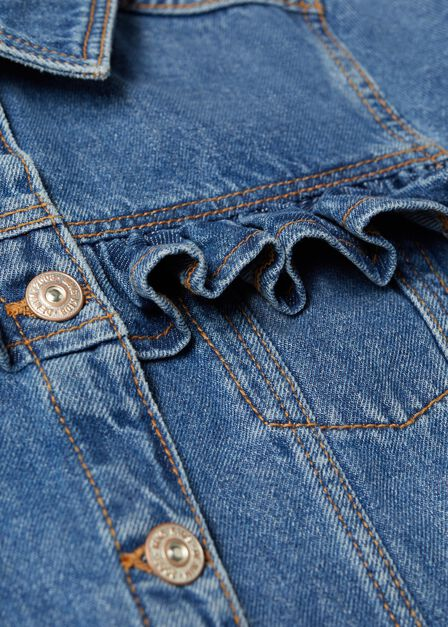 Mango - open blue Ruffled denim jacket