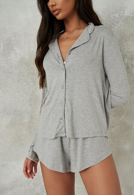 Missguided - Grey Soft Touch Long Sleeve Top And Shorts Pyjama Set