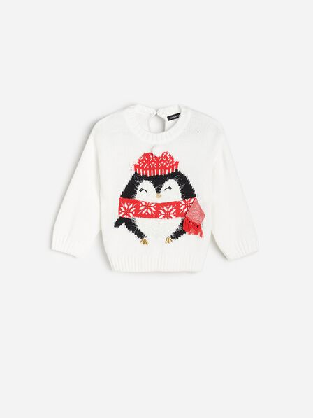 Reserved - White Christmas Sweater With Penguin Print, Kids Girl