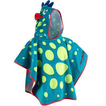 NABAIJI - Baby Poncho With Hood - Blue And Green Dragon Print - Blue