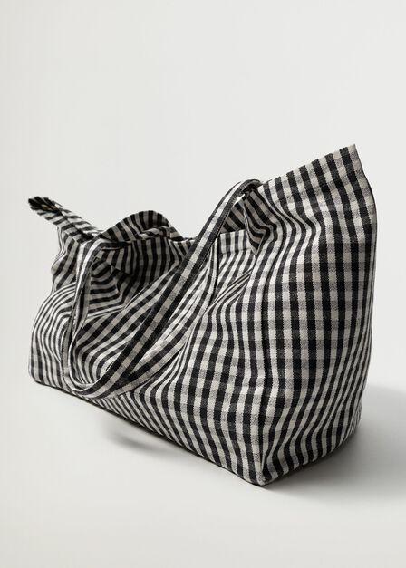 Mango - black Gingham-check fabric shopper bag