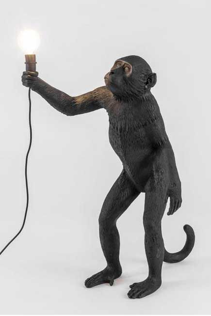 Seletti - Monkey Lamp Standing Black Outdoor