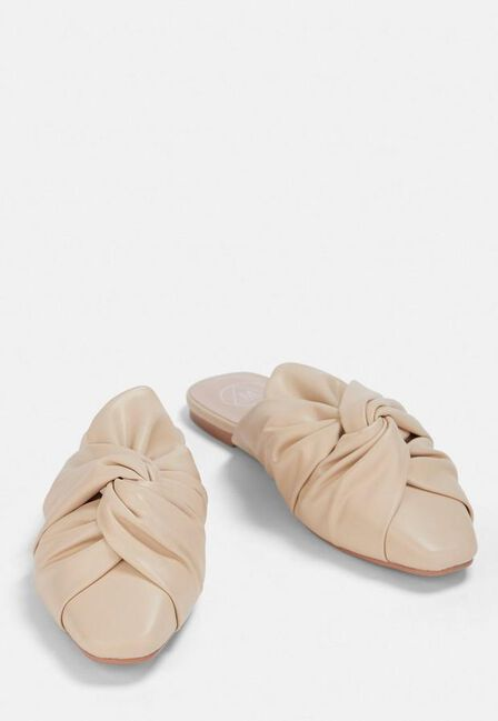 Missguided - Cream Cream Knot Slip On Shoes