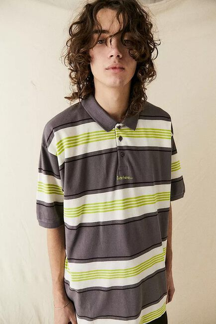 Urban Outfitters - ASSORT iets frans... Lime & Grey Stripe Pique Polo Shirt