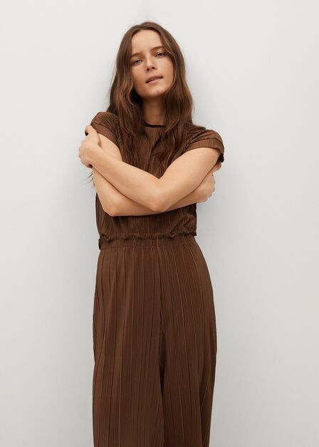 Mango - brown Pleated flowy trousers