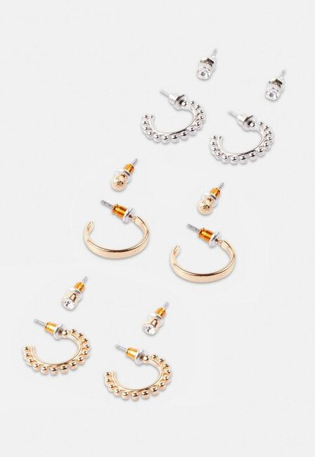 Missguided - Gold Gold Look Stud And Hoop Earrings 6 Pack